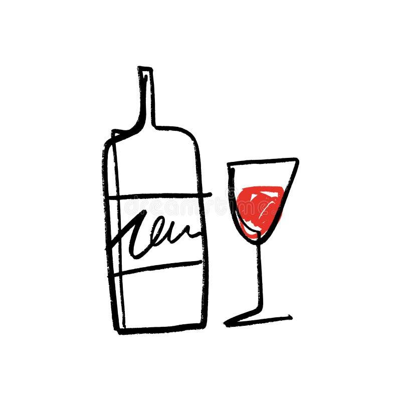 En linje konstexponeringsglas och flaska av rött vinuppsättningen, dragen hand vektor illustrationer