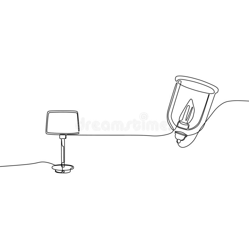 en linje lampor för stearinljuslamptabell med lampskärmar ocks? vektor f?r coreldrawillustration Upps?ttningen av dragen upp kont stock illustrationer