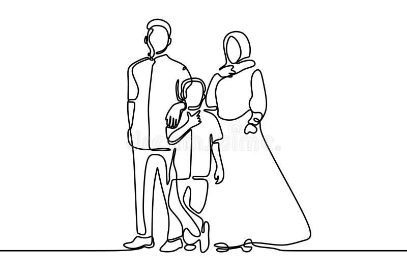 En linje religion för muslim familj för teckning islamisk av fader, moder och son vektor illustrationer