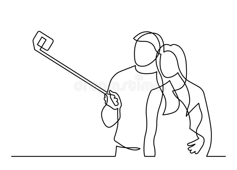 En linje selfie royaltyfri illustrationer