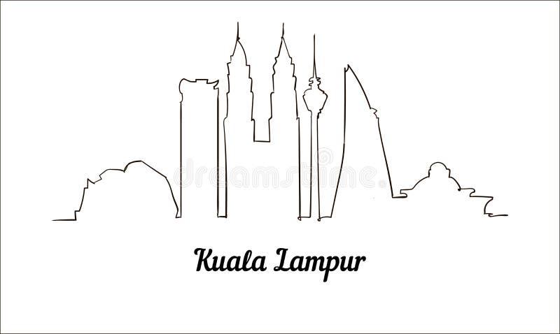 En linje stil Kuala Lampur skissar illustrationen som isoleras på vit bakgrund stock illustrationer