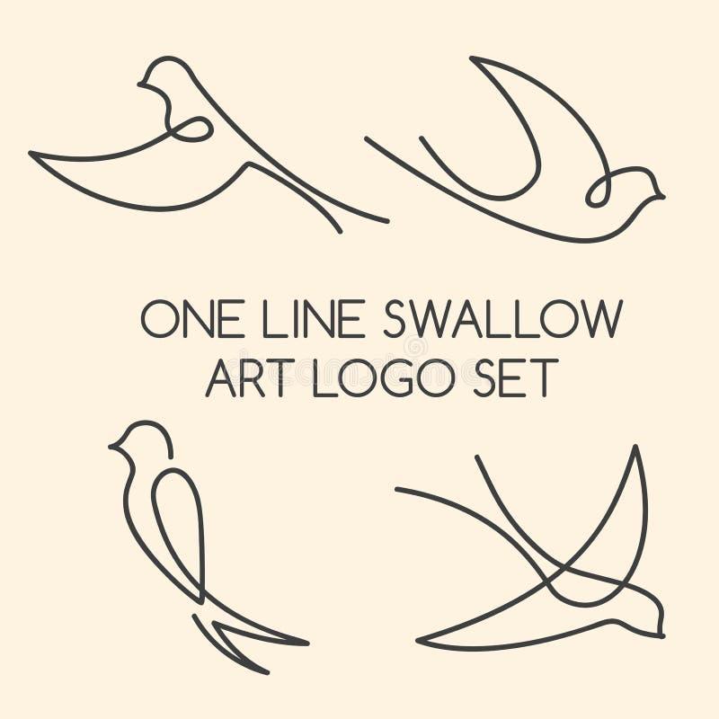 En linje svalalogouppsättning royaltyfri illustrationer