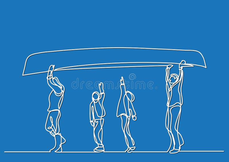 En linje teckning av bärande kajak för familj royaltyfri illustrationer