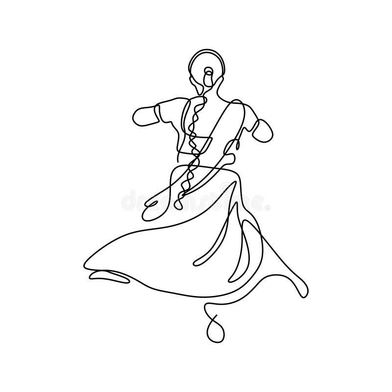 En linje teckning av design för minimalism för dansflicka av den traditionella enkla designen för indisk kvinnadans stock illustrationer