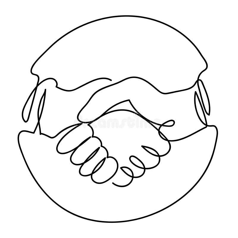 En linje teckning av handskakningsymbol i cirkel vektor illustrationer