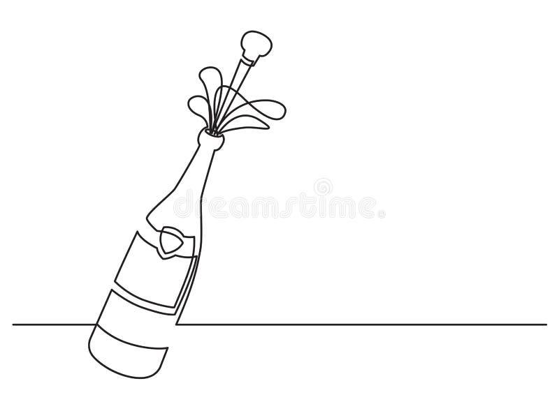 En linje teckning av isolerat vektorobjekt - champagneflaska med att skjuta kork vektor illustrationer