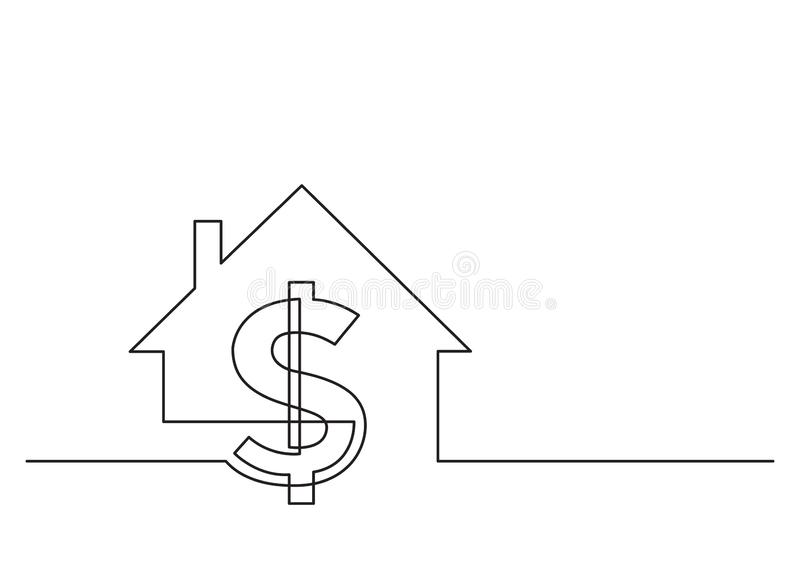 En linje teckning av isolerat vektorobjekt - dollartecken och hus royaltyfri illustrationer