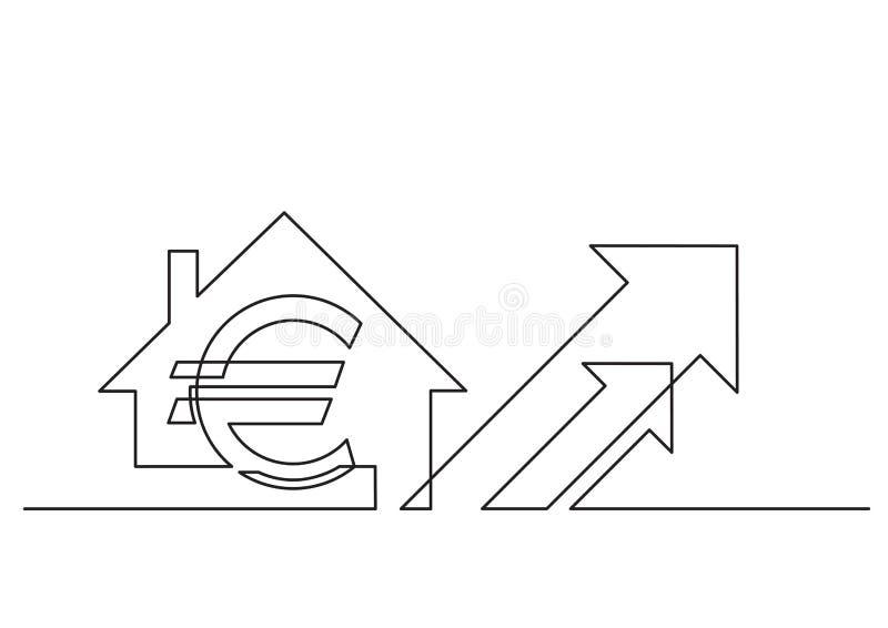 En linje teckning av isolerat vektorobjekt - eurotecken och hus med pilar royaltyfri illustrationer