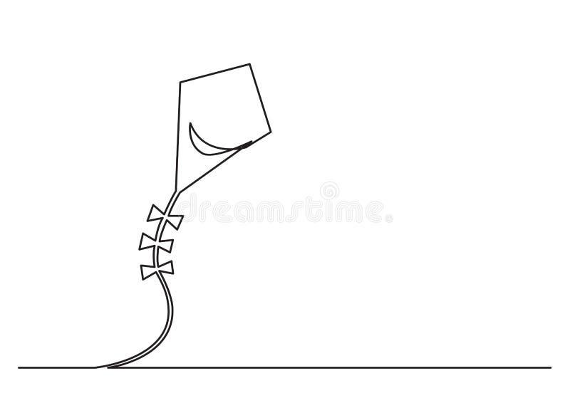 En linje teckning av isolerat vektorobjekt - flyga draken i himlen stock illustrationer