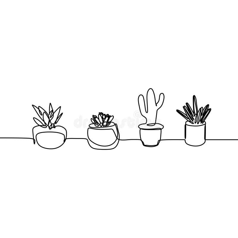 En linje teckning av kaktus och suckulent fortlöpande minimalismdesign royaltyfri illustrationer