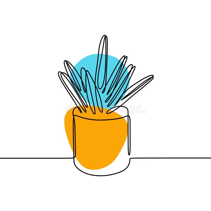 En linje teckning av kaktus och suckulent fortl?pande minimalismdesign stock illustrationer