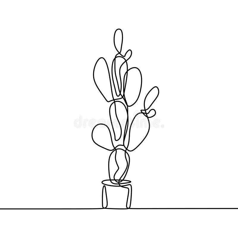 En linje teckning av kaktus som isoleras på vit bakgrund royaltyfri foto