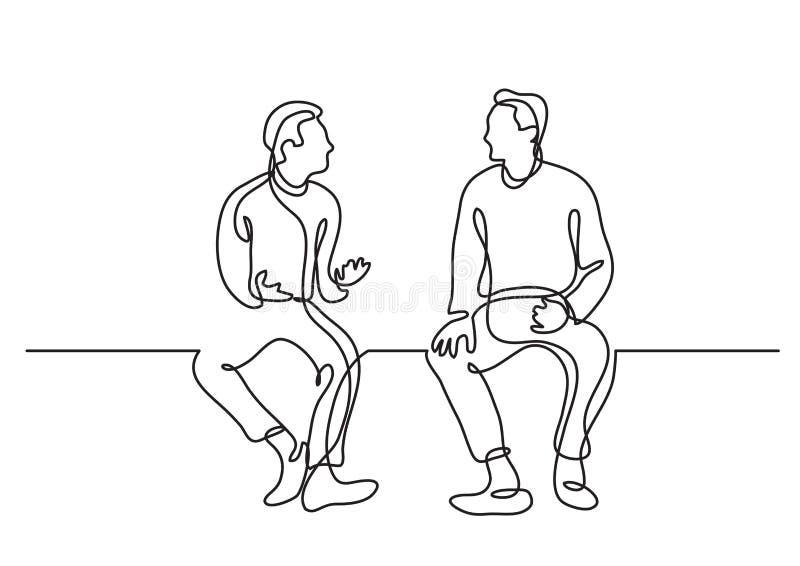 En linje teckning av samtal för två sittande män vektor illustrationer