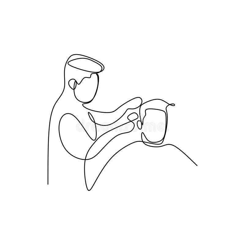 en linje teckning fortsätter en man klipper hår för att kyla royaltyfri illustrationer