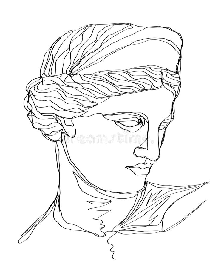 En linje teckning skissar grekskulptur Modern enkel linje konst, estetisk kontur royaltyfri illustrationer