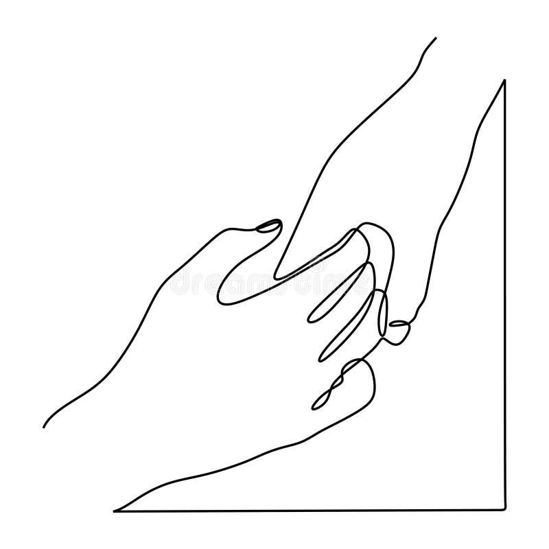 En linje teckning som rymmer minimalist design f?r h?nder p? vit bakgrund vektor illustrationer