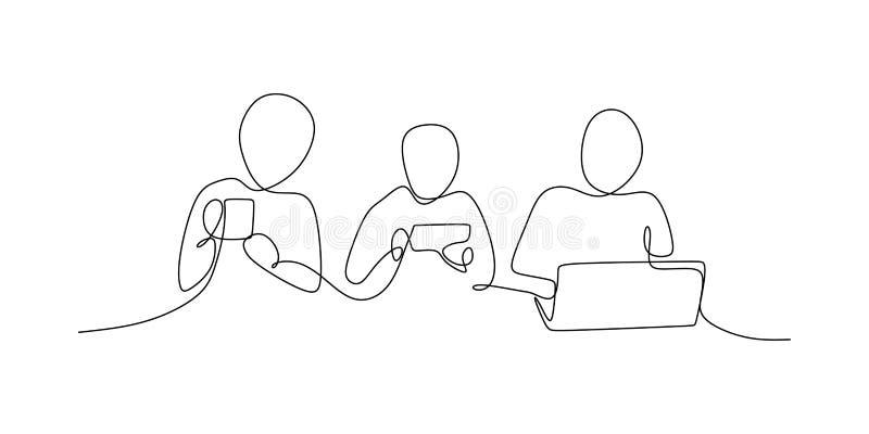 en linje teckning som spelar fortlöpande mobiltelefonen vektor illustrationer