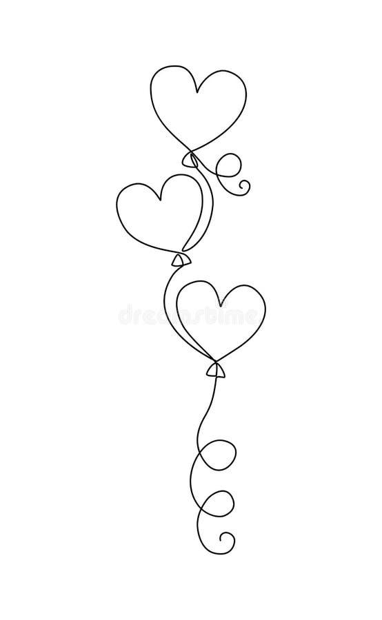 En linje teckningsballonger skissar Ballons i form av hjärtor royaltyfri illustrationer