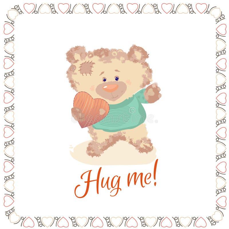 En liten björn är en leksak Dagen för valentin` s är en feriebokstav Hjärta- och björntecknade filmen och gulliga bilder, efterfö royaltyfri illustrationer