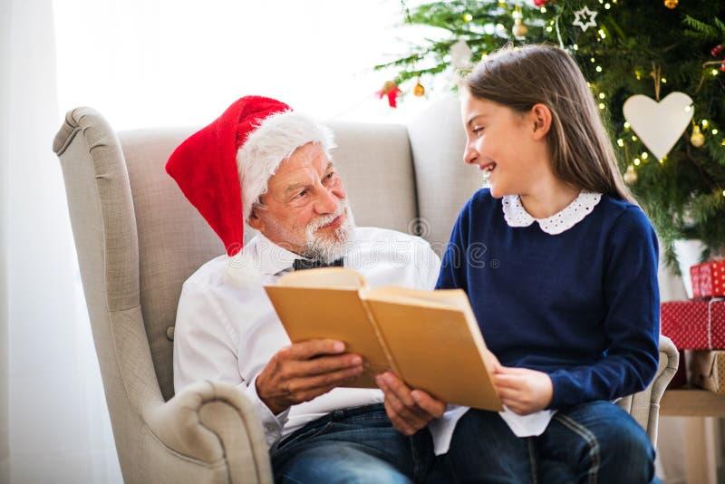 En liten flicka och hennes farfar med jultomtenhatten som läser en bok på jultid royaltyfri bild