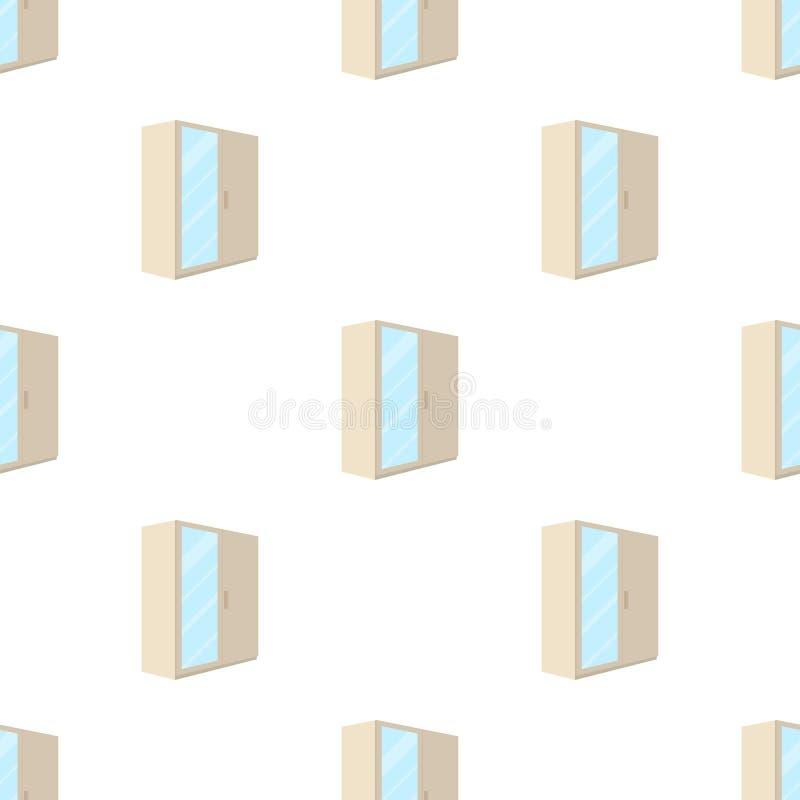 En liten garderob med en ren spegel Enkel symbol för sovrummöblemang i illustration för materiel för symbol för tecknad filmstilv royaltyfri illustrationer