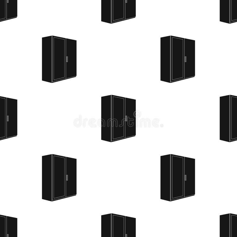 En liten garderob med en ren spegel Enkel symbol för sovrummöblemang i svart illustration för materiel för stilvektorsymbol royaltyfri illustrationer