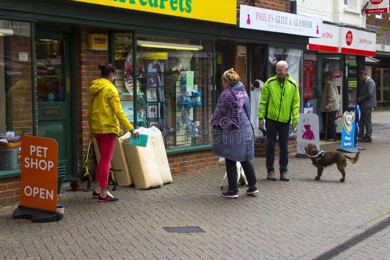 En liten grupp av hundägare möter och pratar utanför det lokala älsklings- shoppar i Hythe i Hampshire på sydkusten av England arkivfoto