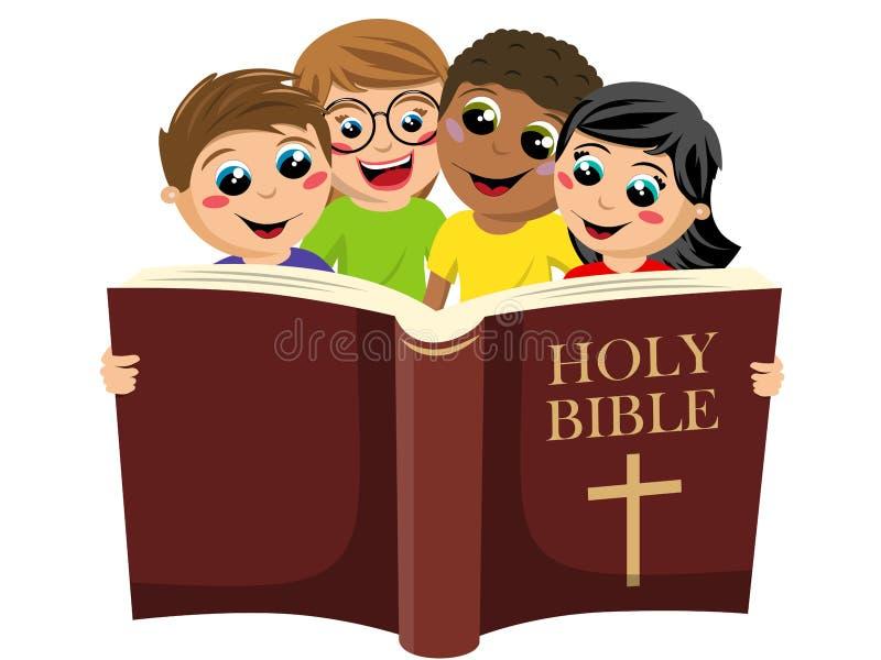 En liten grupp mångkulturella barn som läser den heliga bibelboken som är isolerad på vitt stock illustrationer