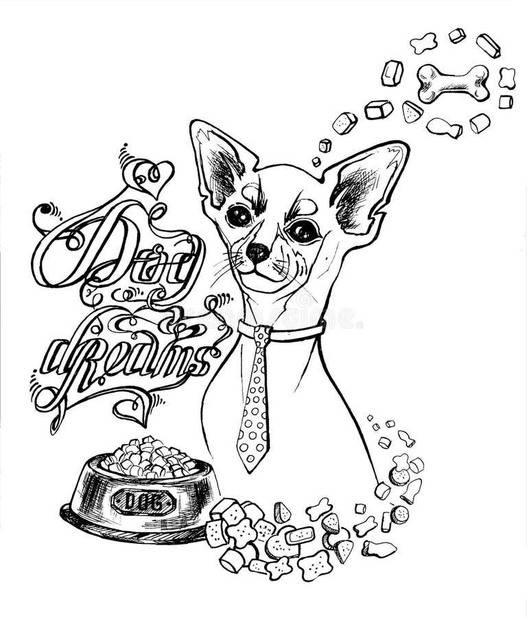 En liten hund i ett band och en bunke av mat tänker om benet stock illustrationer