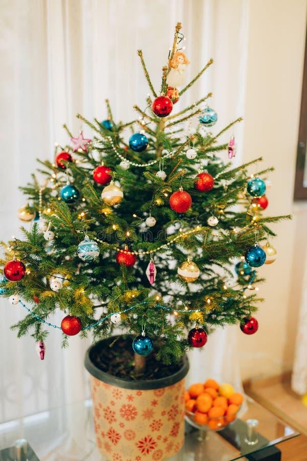 En liten julgran i en kruka som dekoreras med bollar, girlander royaltyfri fotografi