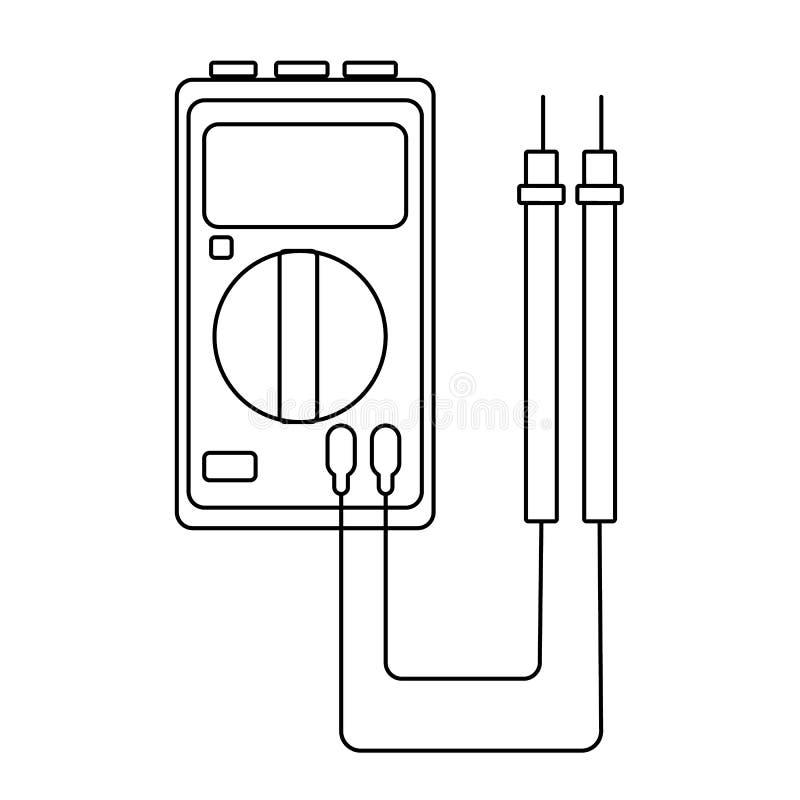 En liten svartvit elmätare, tester, digital multimeter, för att mäta AC, DC-spänning som är aktuell, motstånd, ledningsnät stock illustrationer