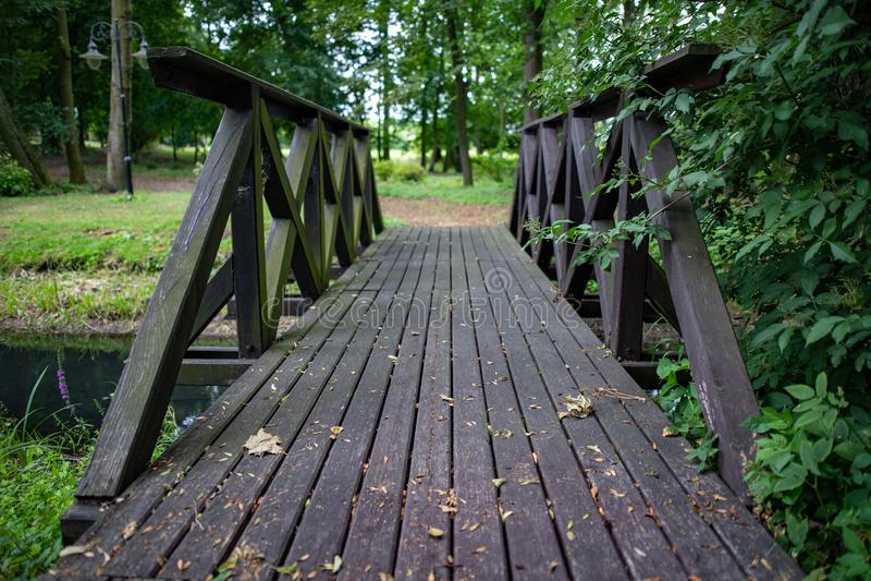 En liten träbro i parkerar Korsa en liten flod i skogområdet arkivfoto