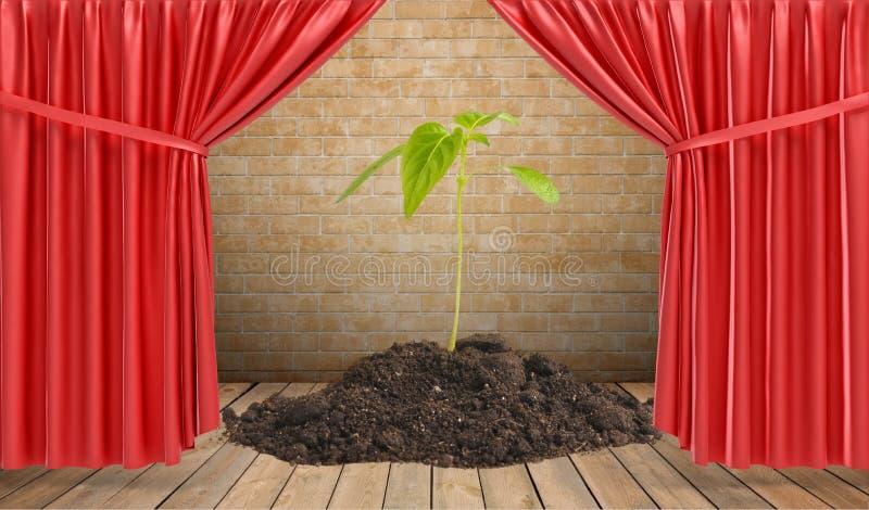 En liten växt som växer från en hög av jordanseendet på etapp, draperade i röda gardiner royaltyfri illustrationer