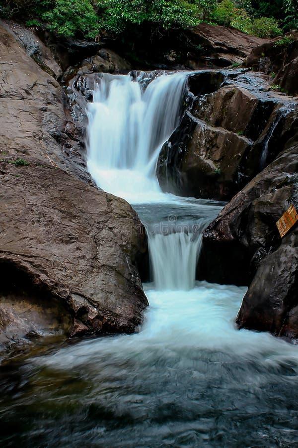 En liten vattenfall i natur arkivfoton