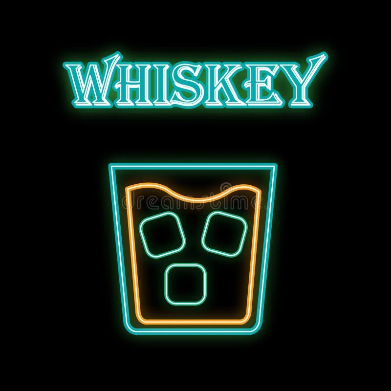 En ljus glödande blå blinkande symbol för enkelt abstrakt neon, en skylt för en stång av whisky med is i ett exponeringsglas och  vektor illustrationer