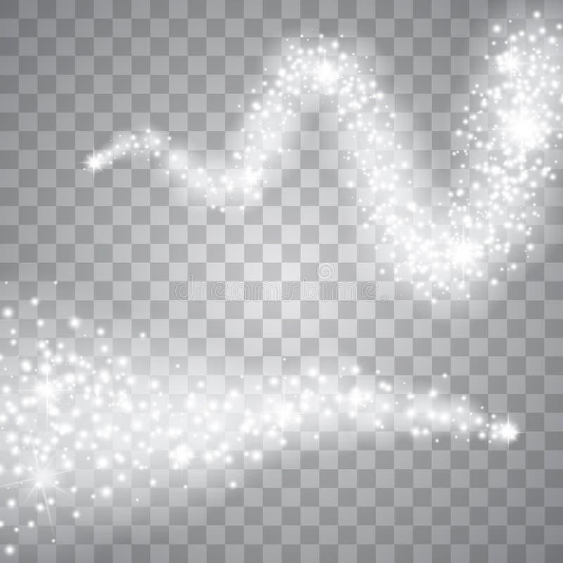 En ljus komet med den fallande stjärnan för stort damm Ljus effekt för glöd vektor royaltyfri illustrationer
