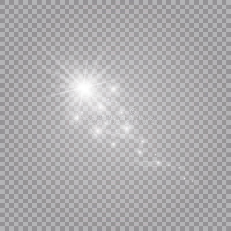 En ljus komet med fallande stjärna Ljus effekt för glöd också vektor för coreldrawillustration royaltyfri illustrationer