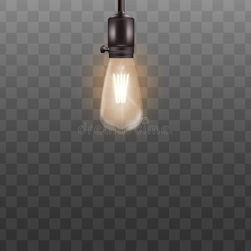 En ljus kula som 3d hänger på kort tråd i realistisk stil royaltyfri illustrationer