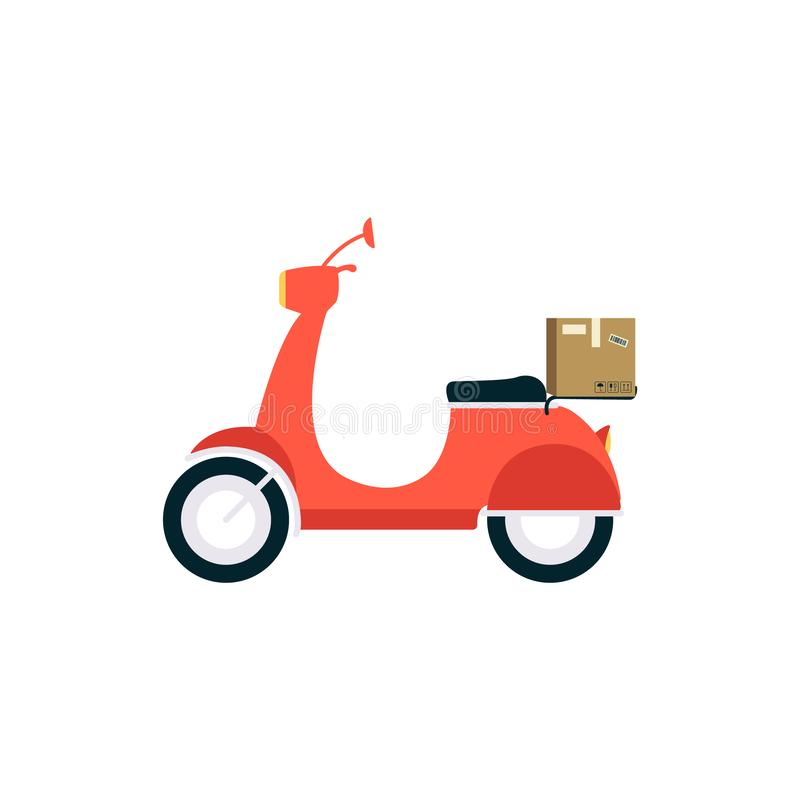 En ljus leveranssparkcykel, ett tecken och ett medelsymbol med en kartong vektor illustrationer
