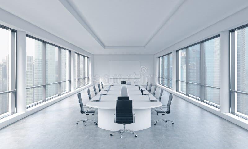 En ljus modern panorama- mötesrum i ett modernt kontor med den Singapore sikten Begreppet av mötet av bolagsstyrelsen stock illustrationer