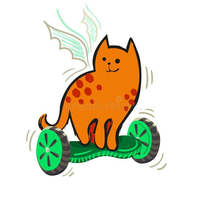 En ljust rödbrun prickig katt för tecknad film med med vingar på ett gyroskop Vektorillustration från roliga katter för en serie royaltyfri illustrationer