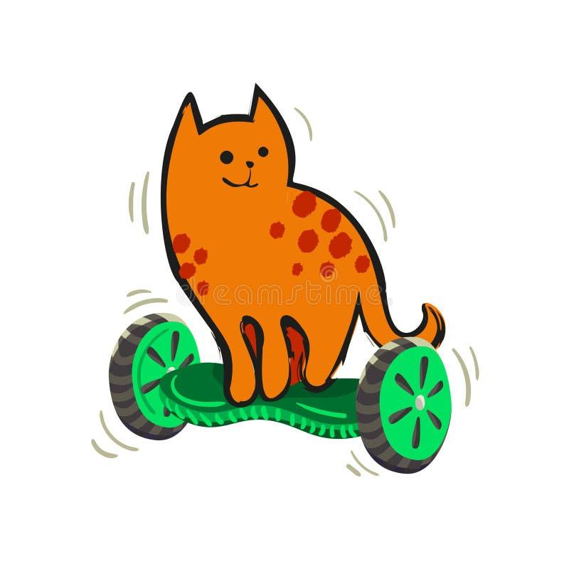 En ljust rödbrun prickig katt för tecknad film på ett gyroskop illustration från roliga katter för en serie vektor illustrationer
