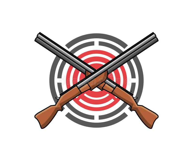 En logo för skjutbana eller vapenområde vektor illustrationer