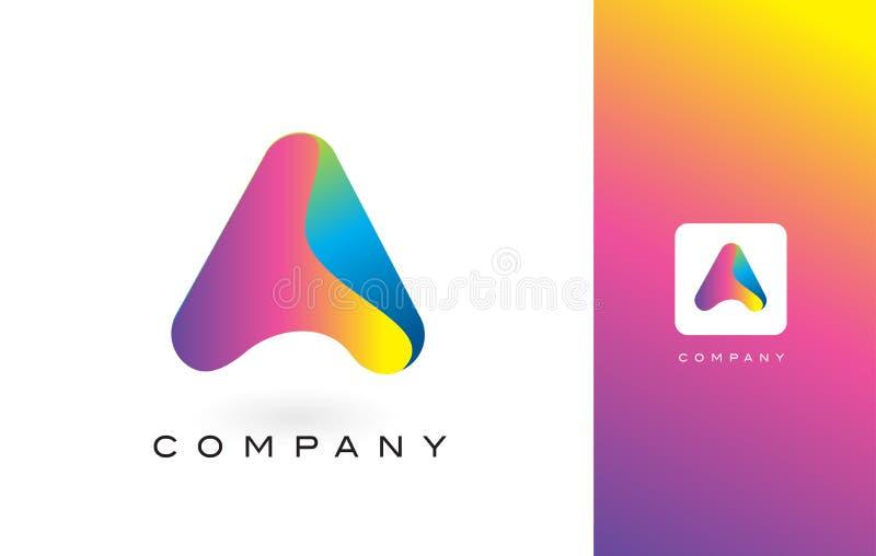 En Logo Letter With Rainbow Vibrant härliga färger Färgrik Tr royaltyfri illustrationer