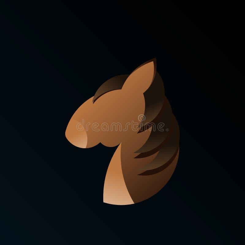 En logo med den guld- förhållandevildhästen royaltyfri illustrationer