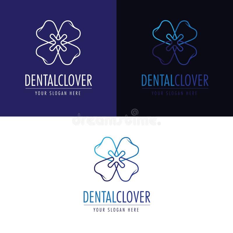 En logo om stomatology Tänder bildar en blomma arkivbilder