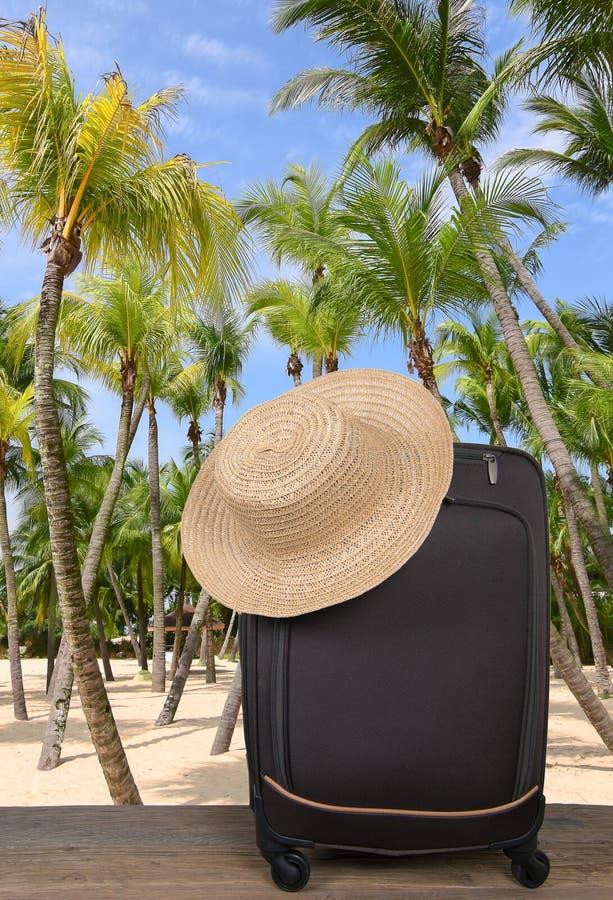 En loppresväska på en tropisk strand med palmträd arkivbilder