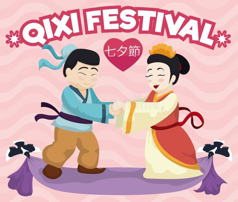En los pares legendarios del amor que conmemoran el festival tradicional de Qixi, Vector el ejemplo ilustración del vector