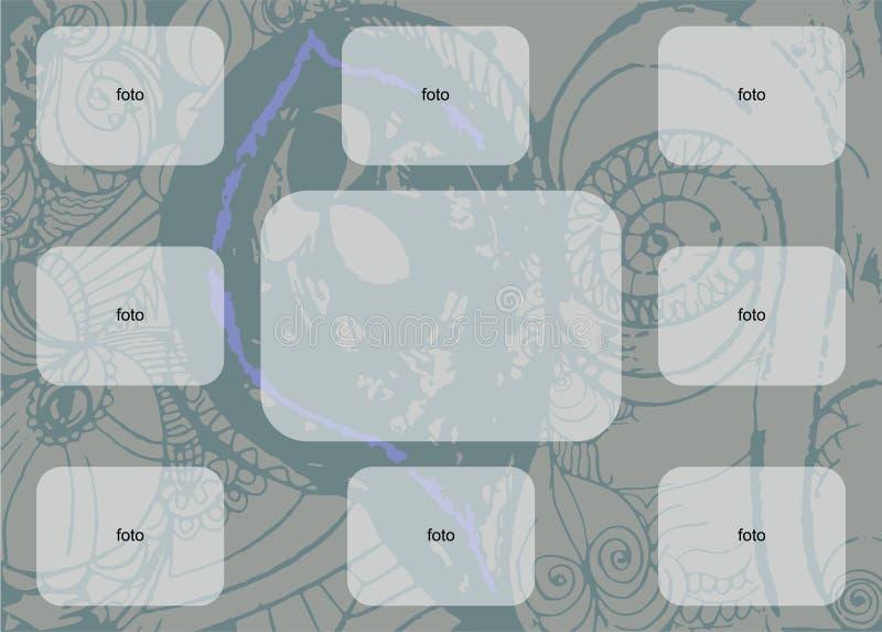 En los rectángulos blancos modelados de un fondo azul para la foto o el texto ilustración del vector