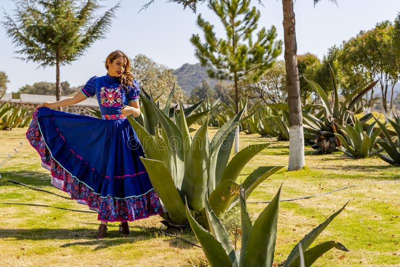 En ?lskv?rd latinamerikansk brunettmodellPoses Outdoors On A mexicansk ranch arkivfoto